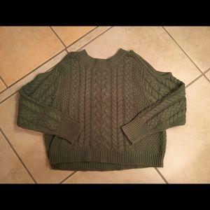 Olive green shoulderless sweater